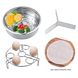 Instant Pot Accessories Vegetable Steamer Basket with Stainless Steel Egg Steam Rack Stand Holder Trivet + Non-stic Silicone Mat Fits 5,6,8qt Instant Pot and Pressure Cooker