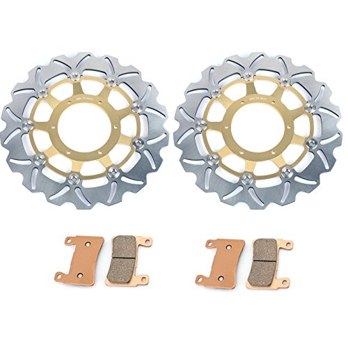 TARAZON Gold Front Brake Rotors Disc & Pads for Honda CBR600F4i Sport 2001-2006