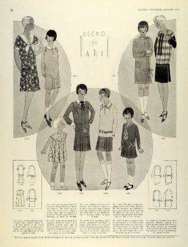 1929 Print Paris Fashion Girl Children Clothing McCalls Dressmaking Patterns - Original Halftone Print - Mccalls Fashion