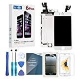 for iPhone 6 Plus Screen Replacement - iezfix LCD Screen Full Assembly Kit with Front Camera + Ear Speaker + Proximity Sensor + Repair Tools + Glass Screen Protector (6Plus White)
