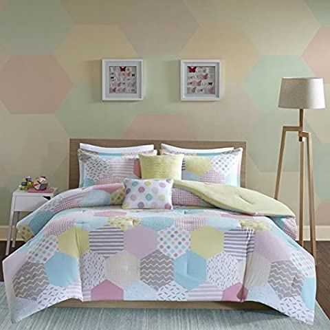 4 Piece Hexagon Solid Reverse Design Comforter Set Full/Queen Size, Featuring Colorful Polka Dots Embroidered Pleated Style Bedding, Playful Chic Girls Teens Stylish Bedroom, Yellow, Pink, - Polka Dots Teen Bedroom
