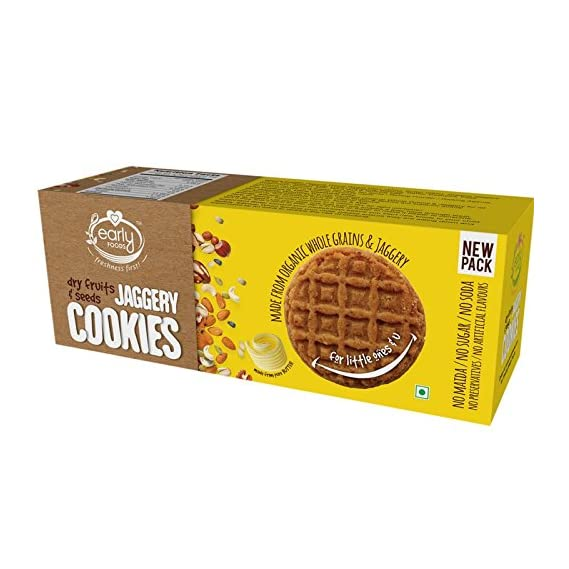Early Foods Organic Dry Fruit Jaggery Cookies - Kids Snack 150gms