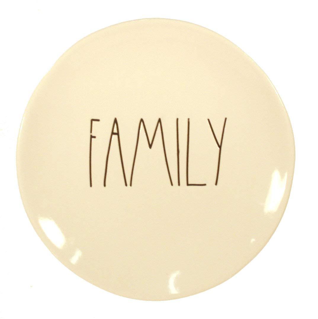 Rae Dunn FAMILY 8 Salad Desert Dinner Plate and Fridge Magnet Gift Set Bundle