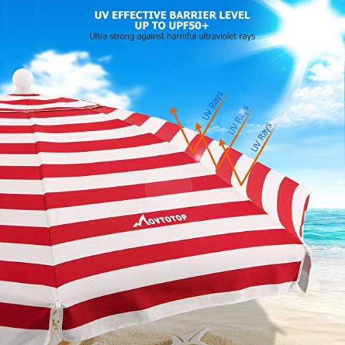 MOVTOTOP Beach Umbrella, 6.5ft Sand Anchor with Tilt Aluminum Pole, Portable UV 100+ Protection Beach Umbrella with Carry Bag for Outdoor Patio (Red/White)