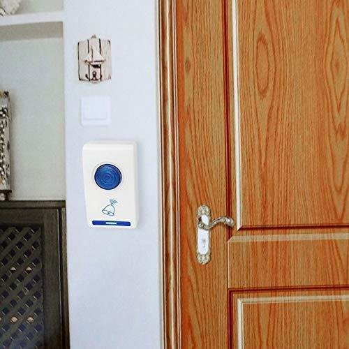 504D LED Carillon de porte sans fil Sonnette et t/él/écommande Wireles 32 Chansons Tune Blanc S/écurit/é /à la maison Utilisez sonnette intelligente Blanc et bleu