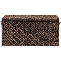 Southern Enterprises Water Hyacinth Diamond Weave Storage Trunk, Blackwashed Finish