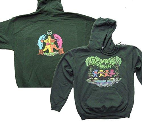Grateful Dead Wood Bears Green Hoodie Sweat Shirt (XL) -