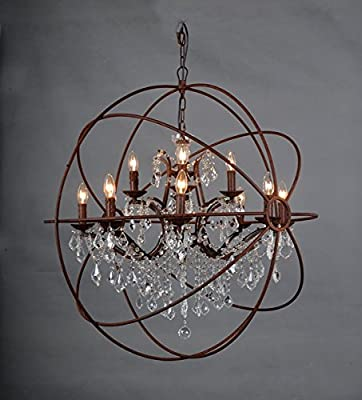 "36"" 12-light Rustic Iron Crystal Orb Chandelier"