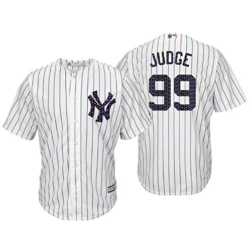 Stitched Mlb Jersey - Majestic Athletic Men's New York Yankees Aaron Judge 2018 Stars & Stripes Player Jersey – White M