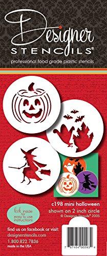 designer stencils C198 Halloween Candy Stencils (Small), Witch - Jack-o-lantern - Ghosts, Beige/semi-transparent