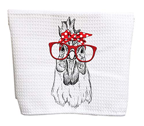 Rooster chicken with red bandana and red sunglasses waffle weave tea towel ()