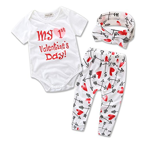 Dofel Baby Boys Girls Outfit Clothes Set My First Valentine's Day Short Sleeve Bodysuit (12-18 - Date Is Valentine Day What Of
