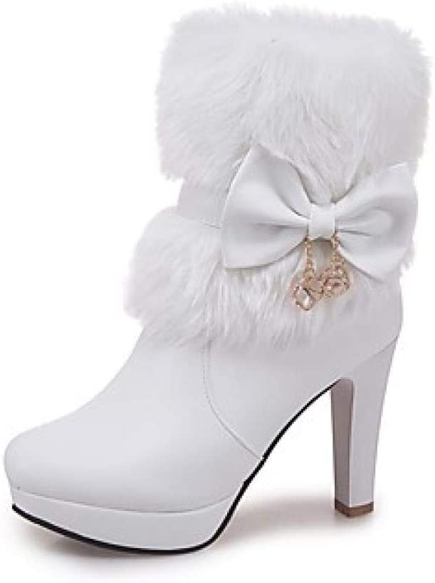 Vrouwen laarzen blokhak ronde kap Bowknot kunstleer booties/laarzen mode laarzen winter wit/zwart/roze / EU39 wit