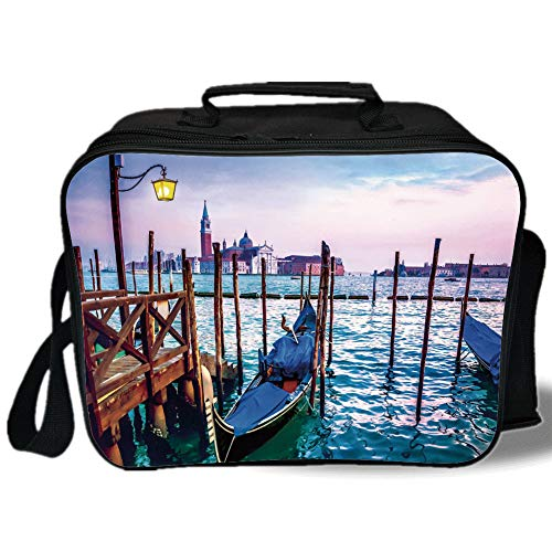 Venice 3D Print Insulated Lunch Bag,Dreamy Evening View of Famous Italian City Architecture Water and Gondolas,for Work/School/Picnic,Lilac Blue Brown