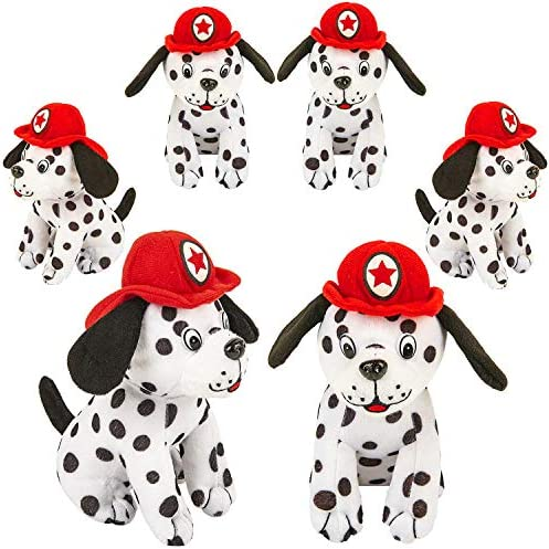 4E`s Novelty Stuffed Dalmatians Soft Plush Puppy Dogs Pack of 6 Large 7 Fire Hat Dalmatian Puppies for Kids Boys and Girls Great Gift & Party Favor