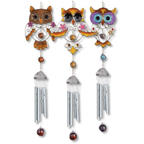 Carson Wind Chimes, Wireworks,Chrome Owls Chimes,Assorted 3,28.75