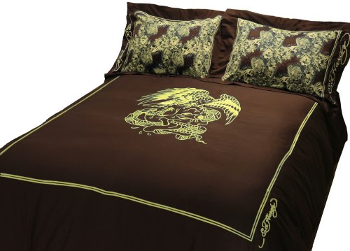 Ed Hardy Eagle King Duvet Set, Gold Embroidery on Brown by Ed Hardy