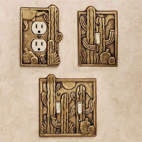 Cactus Garden Single Switchplate Antique Brass