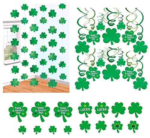 St Patricks Day Party Decorations Foil Swirls Shamrock Cutouts Hanging Strings ()