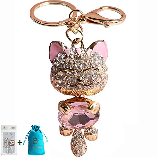 Bro'Bear Cute Kitten Sparkling Keychain Blingbling Crystal Rhinestone Handbag Charm for Cat Animal Lovers Diamond Kitty Key Ring/Chain Holder Purse Car Hanging Pendant Decoration Gift (Pink) Diamond Purse Pendant