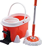 Cleankly 360 Spin Mop and Bucket System Replacement Refills Head Foot Pedal Hardwood Floor Cleaner with Extendable Stainless Steel Handle 2 Washable Microfiber Mop Heads
