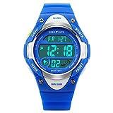 BesWLZ Sports Kids Wristwatch LED Digital Alarm Stopwatch Waterproof Children's Dress Watches for Child Boys Girls Blue