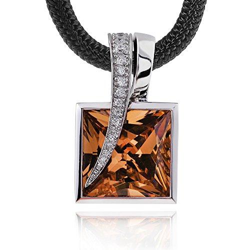 Gani Mariano Argent 925chaîne pendantes Zirconium Champagne collier pendentif carré + Boîte en bois & # CNK