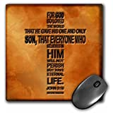 3dRose LLC 8 x 8 x 0.25 Inches Mouse Pad, John 3-16 Bible Verse Embossed on a Copper Background (mp_29092_1)