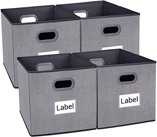 Homyfort Cloth Storage Bins, Foldable Cubes Basket Organizer Container Drawers with Dual Plastic Handles for Closet, Bedroom, Toys,Set of 4
