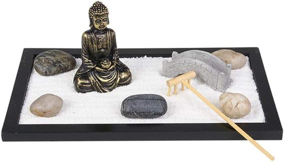 Amazon Com Artcreativity Mini Zen Garden With Buddha Statue Rake Sand Bridge And Rocks 11 Inch X 6 5 Inch Home Office Desk And Living Room Table Top Decor Stress Reliever
