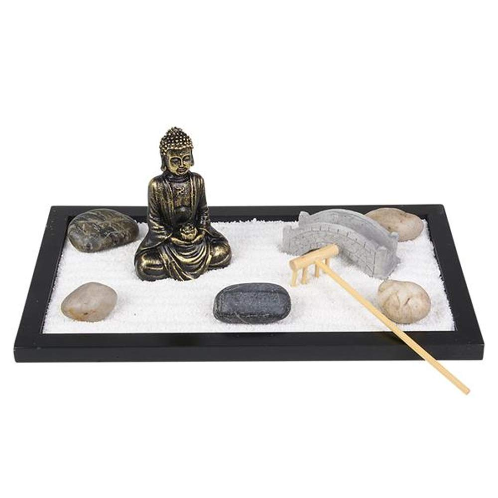 """ArtCreativity Mini Zen Garden with Buddha Statue, Rake, Sand, Bridge and Rocks (11"""" x 6.5"""") 