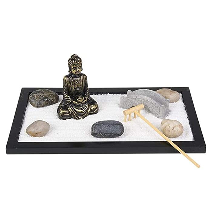 "ArtCreativity Mini Zen Garden with Buddha Statue, Rake, Sand, Bridge and Rocks (11"" x 6.5"") 