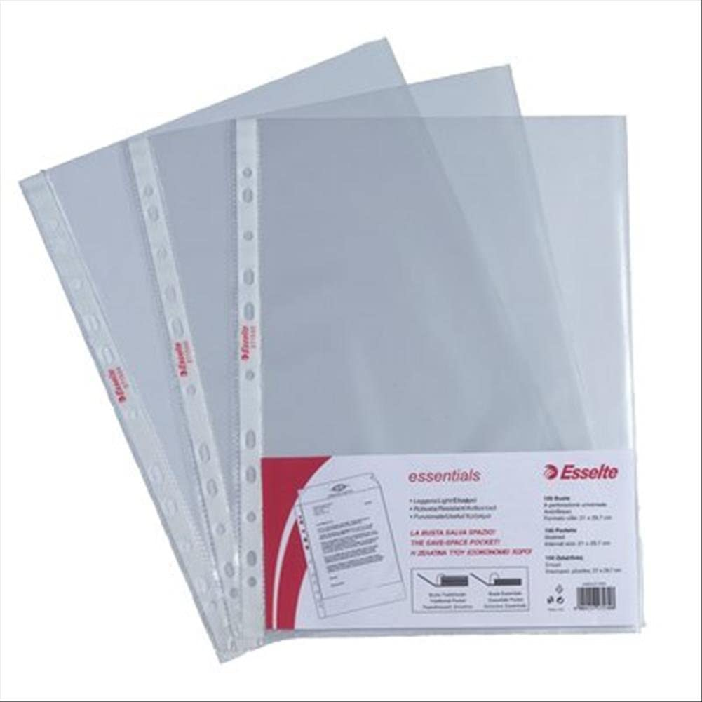 ESSELTE Buste perforate ESSENTIALS - PPL antiriflesso - f.to 21 x 29,7 cm - 392713000