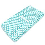 TL Care Heavenly Soft Chenille Fitted Contoured Changing Pad Cover, Aqua Sea Wave