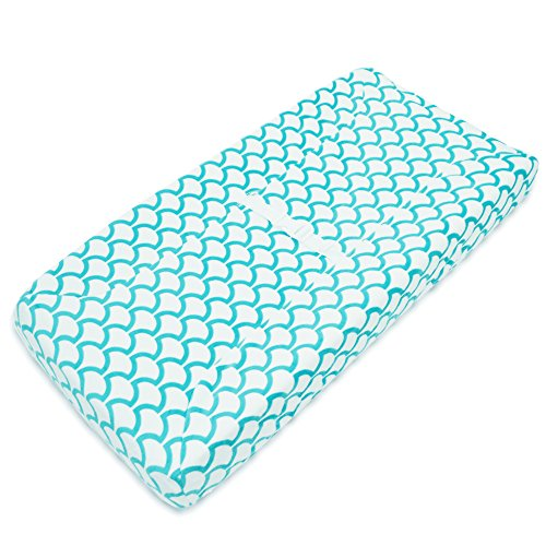 TL Care Heavenly Soft Chenille Fitted Contoured Changing Pad Cover, Aqua Sea Wave by TL Care