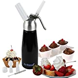 EurKitchen Professional-Grade Artisanal Whipped Cream Dispenser - All Aluminum Body and Head - 1-Pint - Delicious Dessert Recipes Included - Uses Standard 8-Gram N2O Cartridges (not included)
