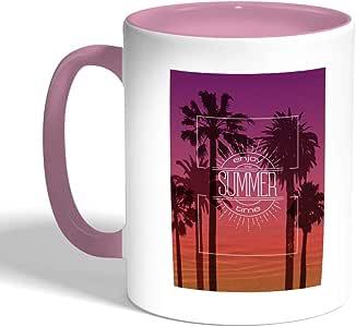 enjoy the summer time Printed Coffee Mug, Pink Color