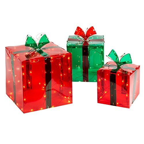 3 lighted gift boxes christmas decoration yard decor 150 lights indoor outdoor buyers choice nt na