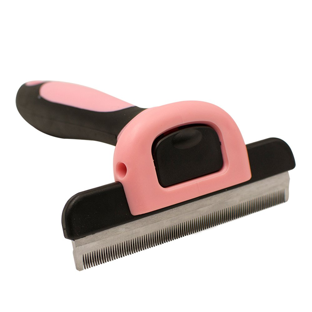 Pink Dog Brush & Cat Brush For Small, Medium & Large Dogs and Cats, With Short to Long Hair. Dramatically Reduces Shedding In Minutes (Pink)