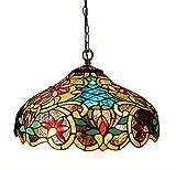 Chloe Lighting CH1A674VB18-DH2 Leslie Tiffany-Style Victorian 2-Light Ceiling Pendant Fixture - 12 x 18 x 18