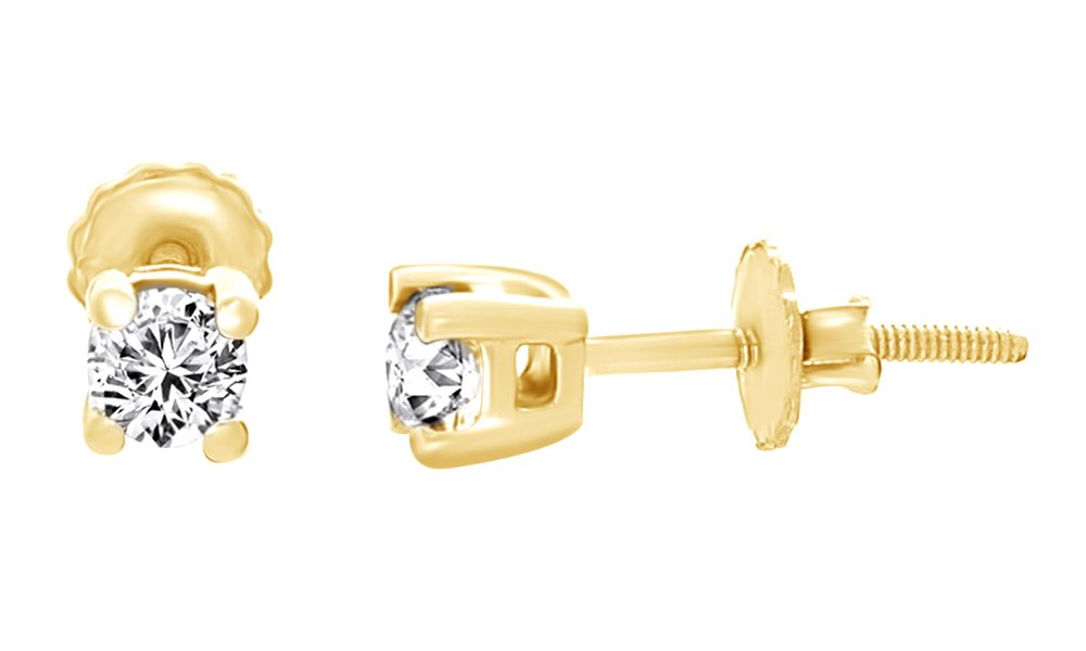 (0.50 Ct) White Natural Diamond Stud Earrings In 14K Yellow Gold Over Sterling Silver