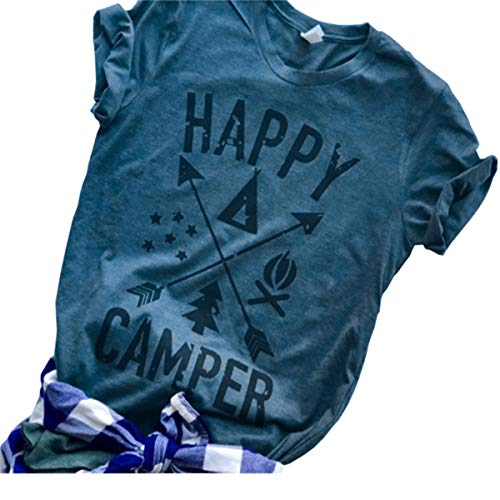 Deyuanjiagou Women's Happy Graphic Printing Tees Summer Round Neck Short Sleeve T-Shirts Tops -