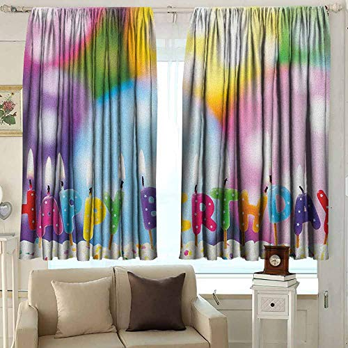 AFGG Outdoor Curtains Kids Birthday Celebration Colorful Candles on Party Cake with Abstract Blurry Backdrop Simple Stylish 63 W x 72 L Inches Multicolor
