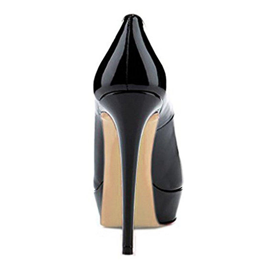 onlymaker Womens Round Toe Platform Slip On Sexy Stiletto High Heel Pump Party Dress Wedding Shoes B06Y5NJYYS 9 M US|B-black