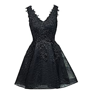 39610ae64ef Dannifore Floral Lace Applique Short Homecoming Dresses Bridesmaid Evening  Gown Black Size 2