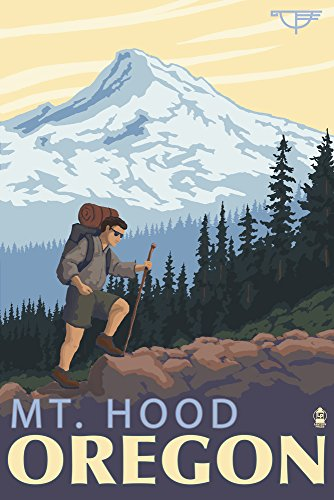 Mt. Hood, Oregon - Timberline Lodge Hiking (16x24 SIGNED Print Master Giclee Print w/Certificate of Authenticity - Wall Decor Travel Poster) (Best Hikes In Mount Hood National Forest)