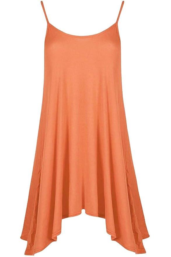 Ladies Sleeveless Hanky Hem Flared Cami Swing Strappy Swing Long Vest Dress 8-22