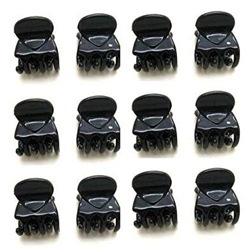 Popular Women Girls 12pcs Black Plastic Mini Hairpin 6 Claws Hair Clips Clamps