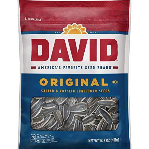 - DAVID Roasted and Salted Original Sunflower Seeds, 14.5 oz, 12 Pack