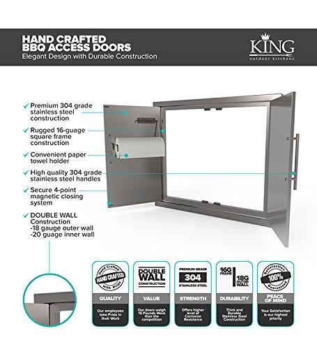 BBQ ACCESS DOOR* NEW Elegant 39 Inch 304 Grade Stainless Steel Bbq Island/Outdoor Kitchen Access Doors/DOUBLE WALLED/Includes Convenient Built In Paper Towel Holder
